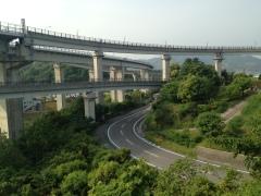 The bike ramp for the Kurushima Kaikyo Bridge.