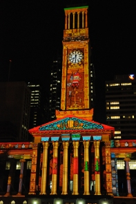 Christmas light show which was projected onto the fascade of City Hall.
