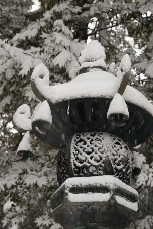 Snowy iron lantern.