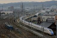 The new Hokuriku Shinkansen heading north from Kanazawa station towards Toyama and then Tokyo