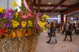 Fresh fresias decorate the newly refurbished Kanazawa Station