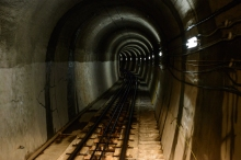 Tunnel for the cable car on Tateyama Kurobe Alpine Route.