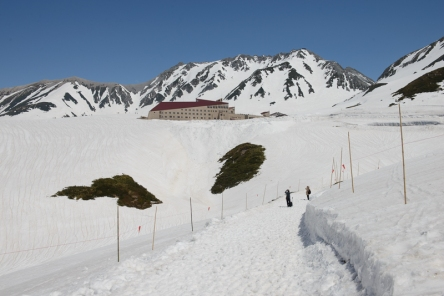 Murodo Station, the highest station on the Tateyama Kurobe Alpine Route.