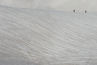Patterns in the deep snow in Tateyama National Park, along the Tateyama Kurobe Alpine Route.