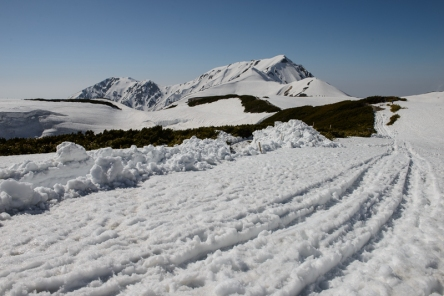 The mountains of the Tateyama National Park, along the Tateyama Kurobe Alpine Route.