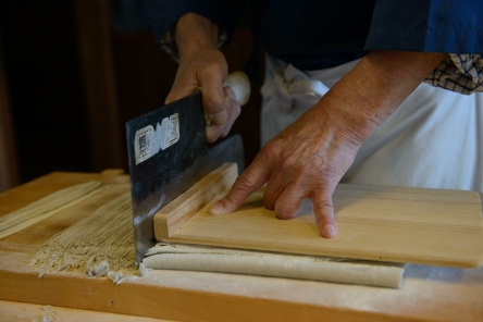A heavy cleaver-style knife that weighs almost 1kg is used to cut the soba into 2mm thick noodles.