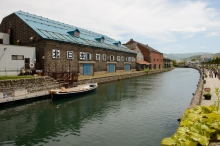 Old warehouses along the famous canal in Otaru, Hokkaido.