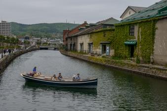 Reverse view of Otaru's famous canal, Hokkaido, Japan.
