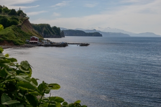 The view along the coastline west of Otaru, Hokkaido, Japan.