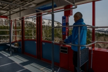 Inside the gondola on the Asahidake Ropeway, in Daisetsuzan National Park.