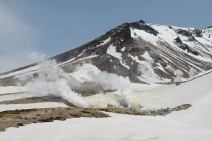 The very active fumeroles on Asahidake, a volcano in Daisetsuzan National Park,
