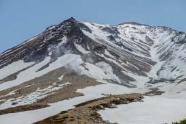 Close detail of Aasahidake, a volcano in Daisetsuzan National Park,