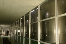 The enormous tuns, vats in which the malt is combined with water, Nikka Distillery, Hokkaido, Japan.