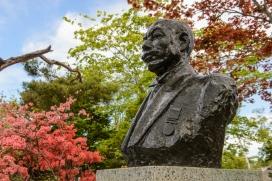Statue of Nikka founder Masataka Taketsuru, Nikka Distillery, Hokkaido, Japan.