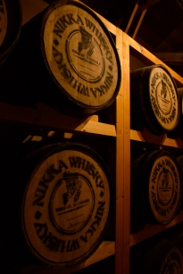 Whisky barrels at the Whisky Museum, Nikka Distillery, Hokkaido, Japan.