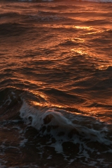 Sunset turning the waves to gold - Sea of Japan, Ishikawa Prefecture.